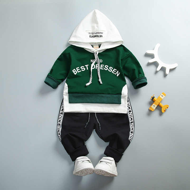 Baby Boy Girl Clothing Set High Qulity Cotton Kids Toddler Clothes Letter Hooded Suit For Boys Child Long Sleeve 1-4Years Autumn