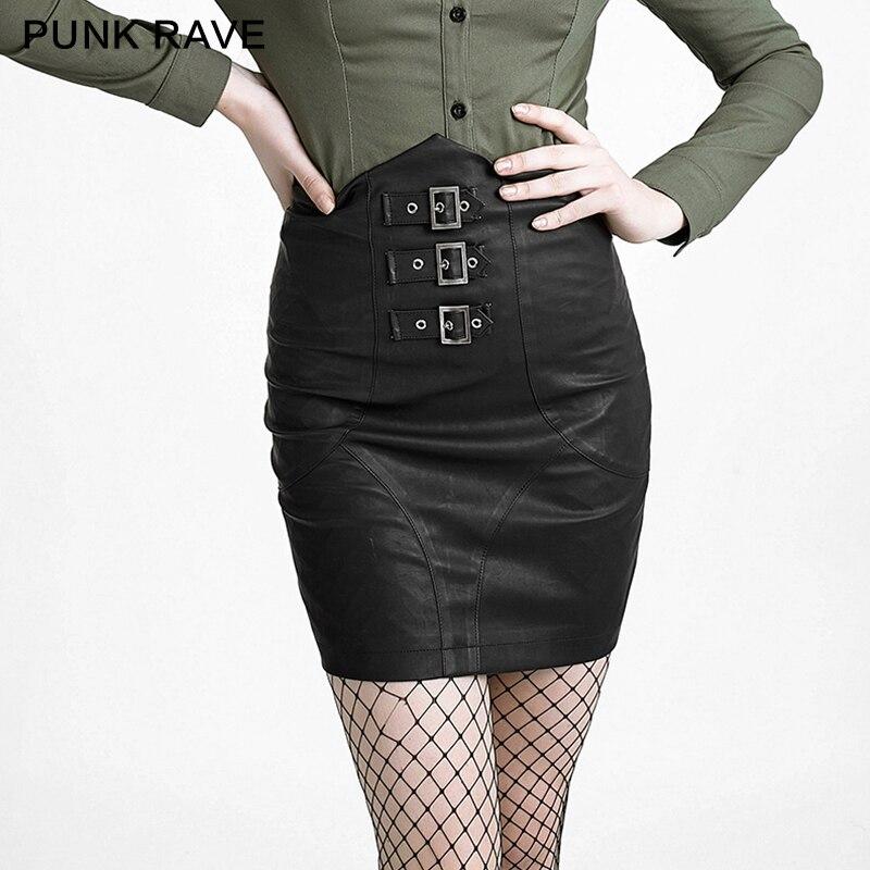 Punk Rave Noir Sexy Dames Punk Vêtements Taille Haute Jupe Q-279