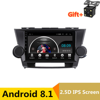 9 2.5D IPS Android 8.1 Car DVD Multimedia Player GPS For Toyota Highlander 2009 2010 2011 2014 audio radio stereo navigation