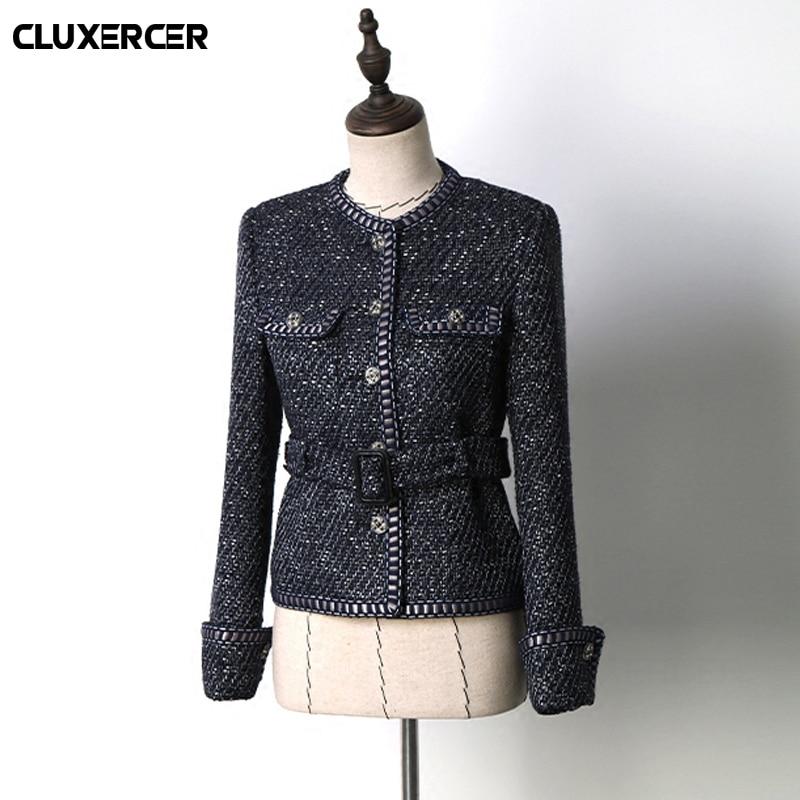 Higth качественная твидовая куртка весна осень Женская куртка пальто Классическая Женская дикая женская яркая плетеная твидовая куртка