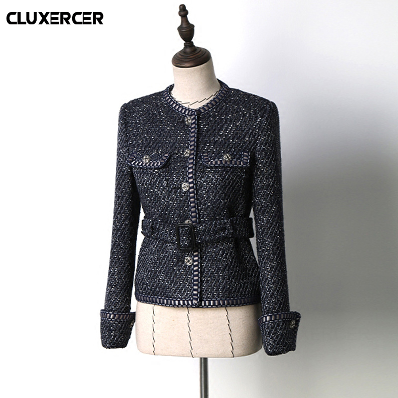 Higth quality tweed jacket spring autumn womens jacket coat classic ladies wild ladies bright wire braided tweed jacket ...