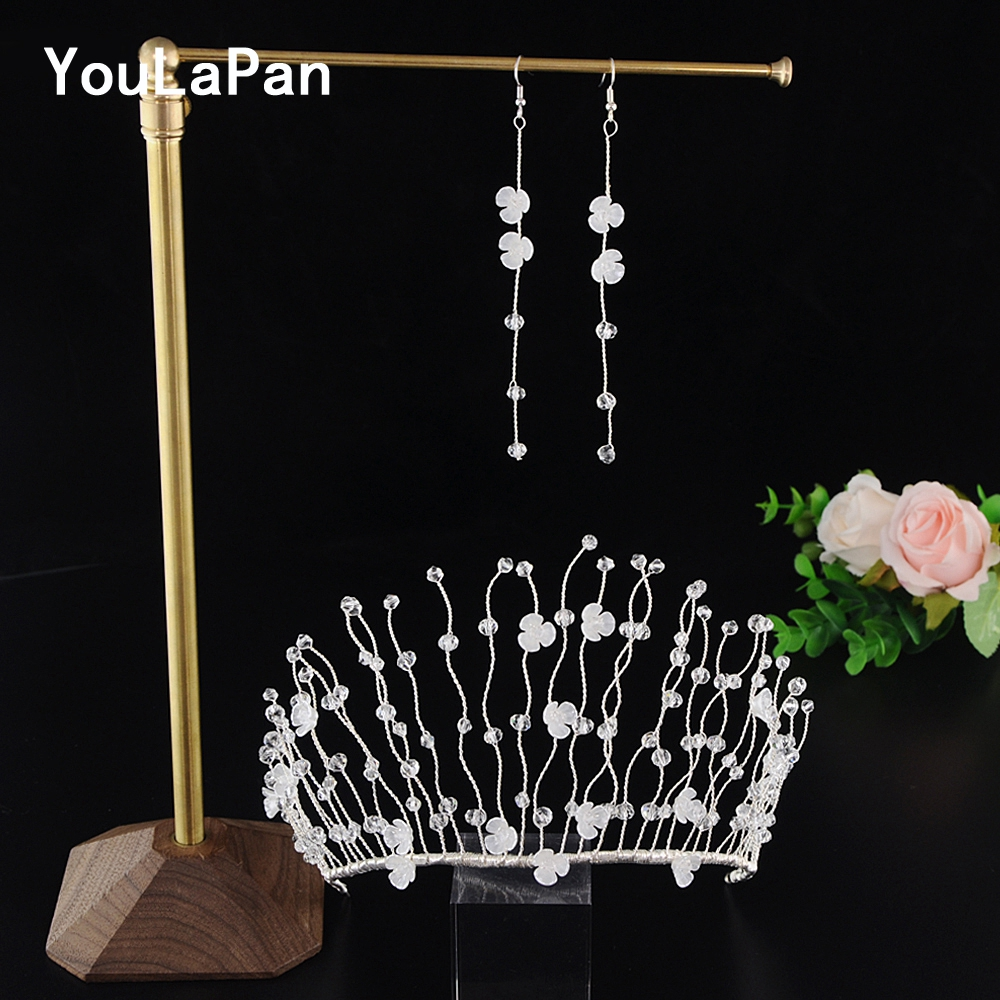 YouLaPan HP204 Bridal Hair Accessories Bride Crown Plastic Flower Wedding Tiara Crystal Wedding Hair Jewelry Wedding Hair Crown