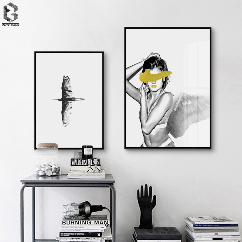 Modern Posters And Prints Wall Art Canvas Painting Nordic Wall Pictures Bird For Living Room Angel Girl Decoration Pictures in Painting Calligraphy from Home Garden