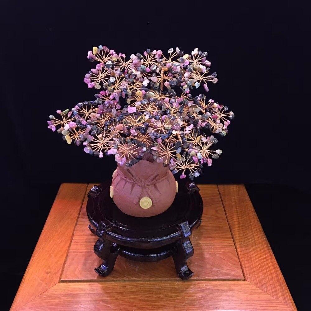 Violet arenacea Albero di cristallo di tormalina gemma albero per la Decorazione Metafisica Reiki Feng shui e Guarigioni