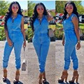 2016 Hot fashion ladies casual rompers summer sleeveless patchwork suit full length denim rompers