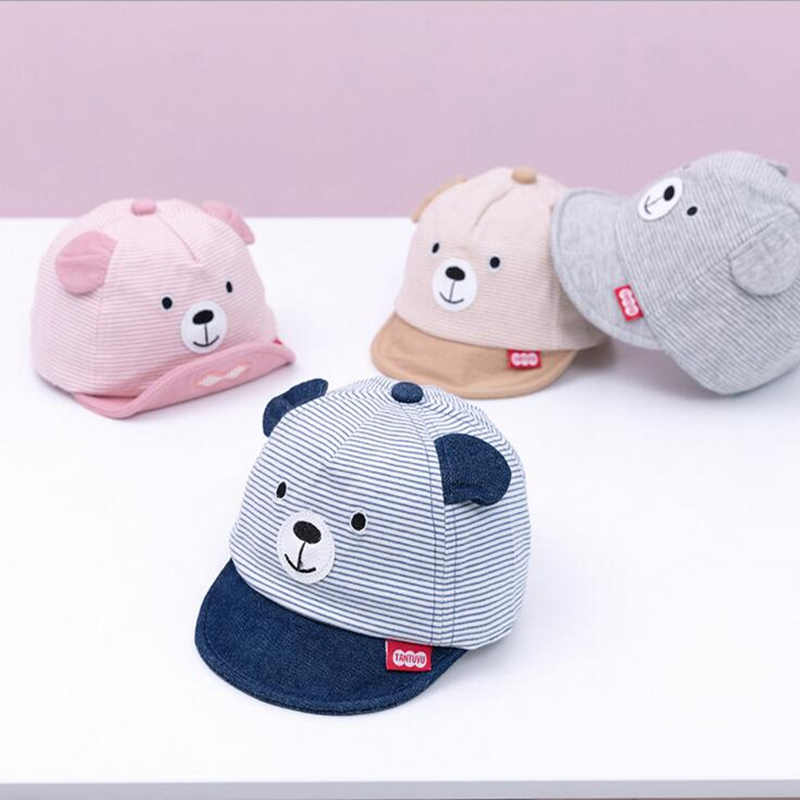 New Cute Baby Child Sun Hat Cartoon Bear Ear Embroidered Newborn Caps Casual Adjustable Cotton Baseball Cap For Kids 3-12 Months