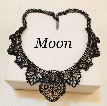 Moon Black Alloy Hollow Flower Crystal Shorts False Collar Choker Statement Necklaces Fashion Jewelry For Women