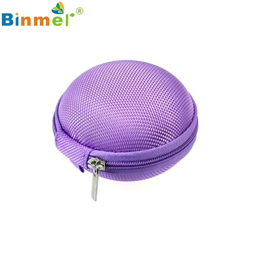 Beautiful Gift New Purple Mini Zipper Earphone Headphone SD Card Storage Bag Box Carrying Pouch Wholesale price Feb17