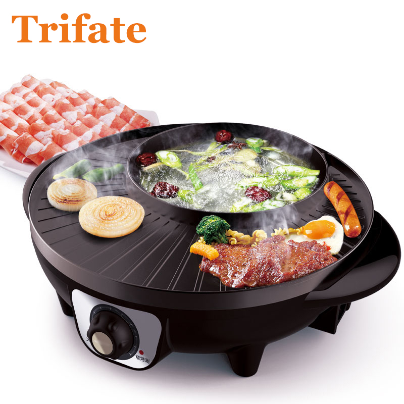 3201 Multifunctional 1600w Electric Pan Grill Bbq Raclette Hotpot With