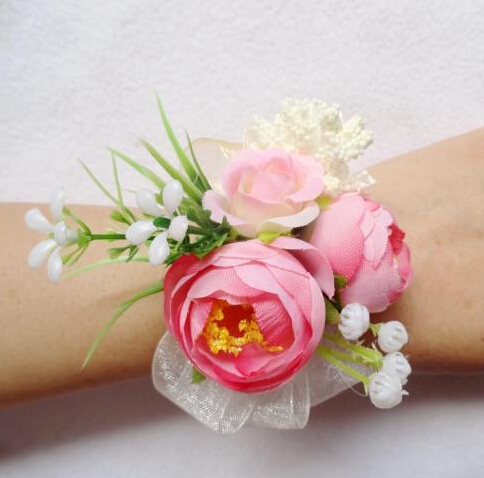 wrist corsage pink promotionshop for promotional wrist corsage, Natural flower