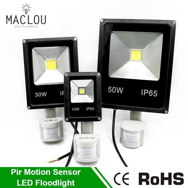 Flood Light Led Lamp 220V ip65 10w 30w 50w LED Infrared Floodlight With Pir Motion Sensor Spotlight Outdoor Led Reflector Garden