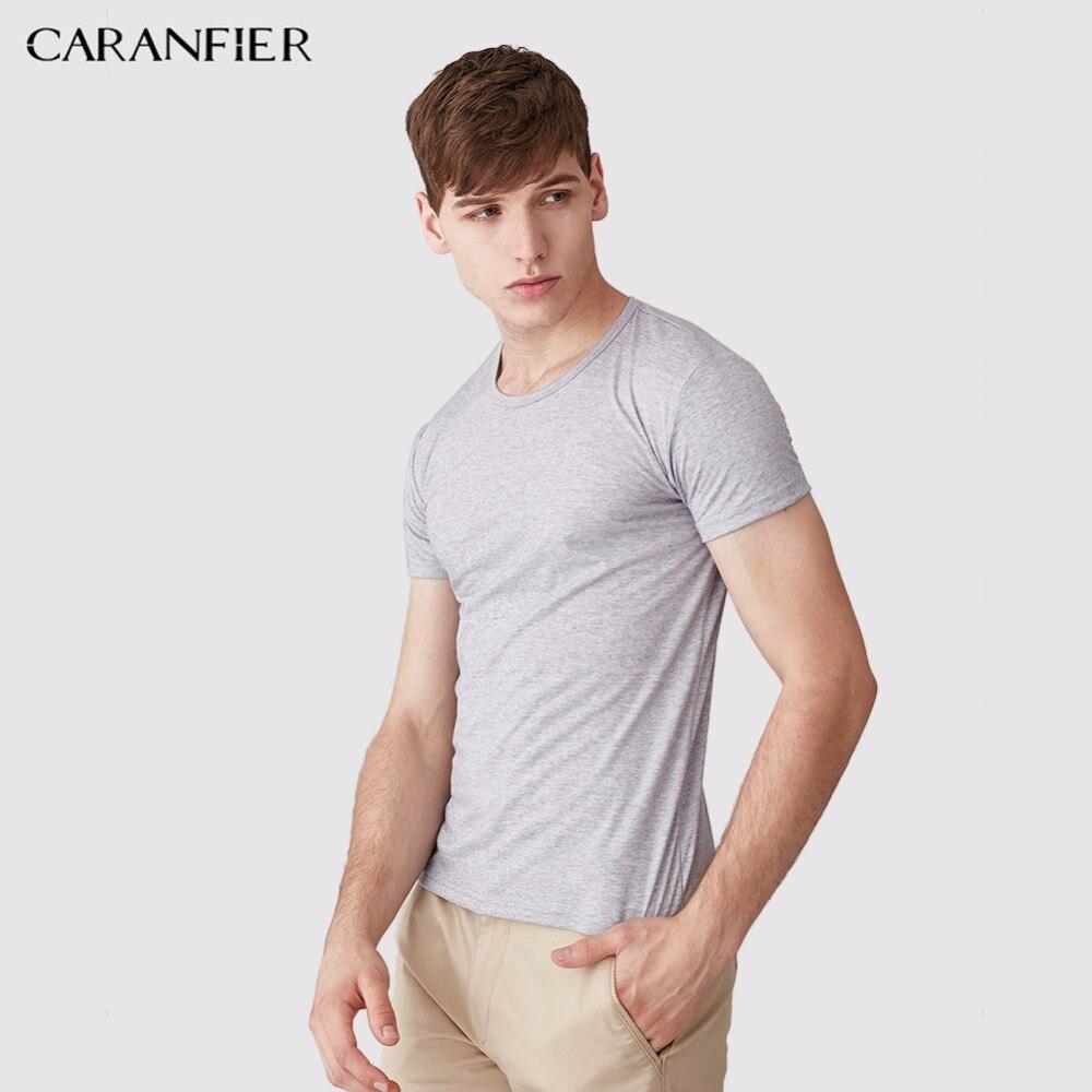 CARANFIER 2018 New T Shirt Mens Solid 15 Color 100% Modal T-shirts Summer O-Neck tshirt Skateboard Tee Boy Skate Tshirt Tops OEM