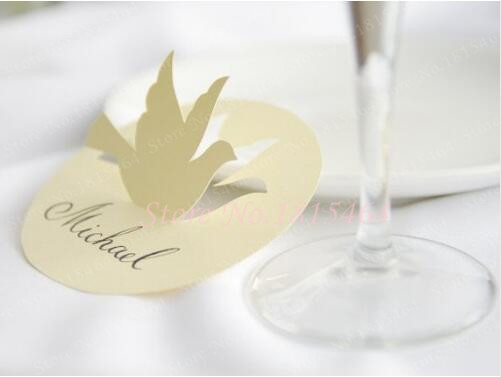 60pcs Laser Cut Paper Hang Tag Card Personalized Table Number Place Cards,Dove Themed Wedding,Baptism Summer Open Air Event
