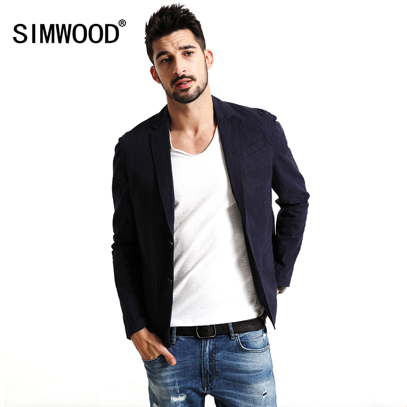 SIMWOOD 2018 Autumn Casual Blazers Men Plaid Suits Brand Fashion Coats Pocket Single Breasted Slim Fit Plus Size 180139