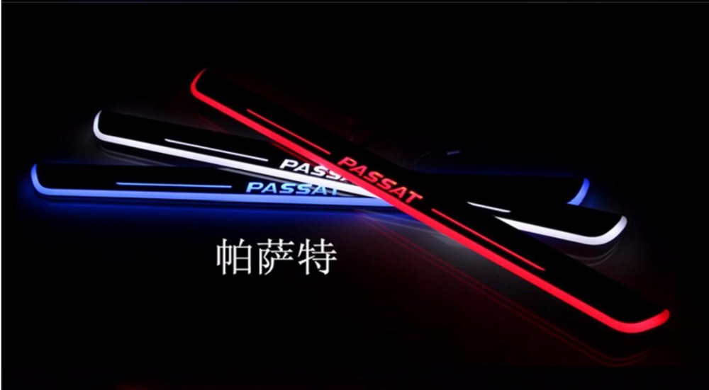 Qirun acrylic led moving door scuff welcome light pathway lamp door sill plate linings for Volkswagen Passat B5 B7 2012 2016