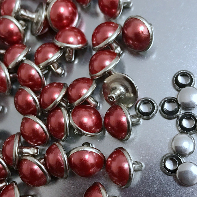100PCS 10MM Round Silver Acrylic Red Pearl Rivets Leather Craft Punk Studs  Fit DIY Making Belts 6c2000a1b8f0