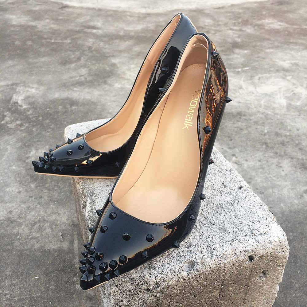 318bb4ba0a4b ... Veowalk Rivets Women Sexy Extreme High Heels Fashion Ladies Patent Leather  Pointed Toe Stiletto Pumps Shoes ...