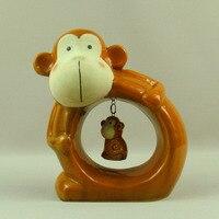 Porcelain Monkey Mother and Kid Sculpture Maternal Ceramics Wild Animal Figurine Gimcrack Ornament Present Craft Furnishing