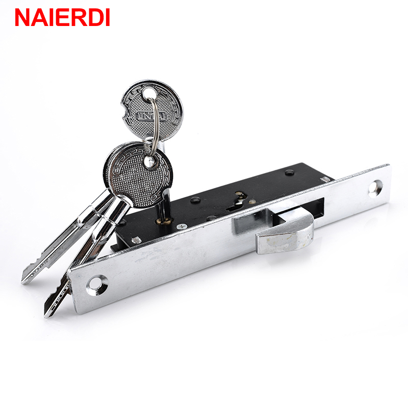 NAIERDI Sliding Door Lock Zinc Alloy Window Locks Anti-Theft Safety Wood Gate Floor Lock With Cross Keys For Furniture Hardware ospon sliding door locks invisible door