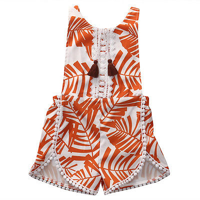a4d37de0de61 Summer Newborn Kid Baby Boy Girl Tassel Orange Sleeveless Floral Romper  Jumpsuit Outfit Sunsuit Clothes