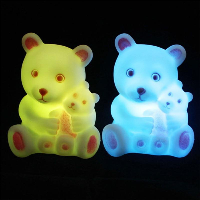 Cartoon Night Light For Children Animal Light Fixtures Bear Night Light RGB Cute Fixture Lighting Night Lamp For Kids Child