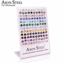 ASONSTEEL כסף צבע 6mm כיכר קריסטל מעוקב Zirconia Stud עגילים לנשים נירוסטה עגילי boucles doreilles