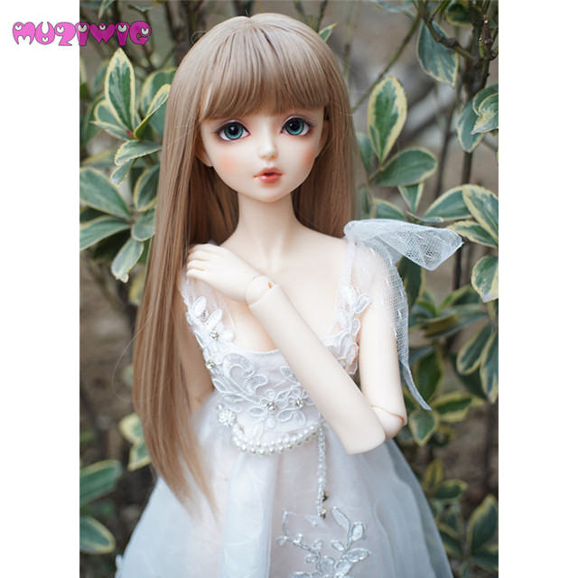 Muziwig 2018 Bjd 1 3 Handmade Baby Doll Wig Hair Flax Gold Long