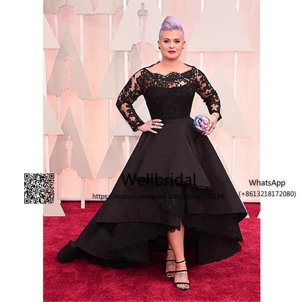 Elegant 2017 Hi Lo Gown Black   prom     dresses   Long with Long Sleeves Lace vestido de festa Evening Party   Dresses   Women   prom     dress