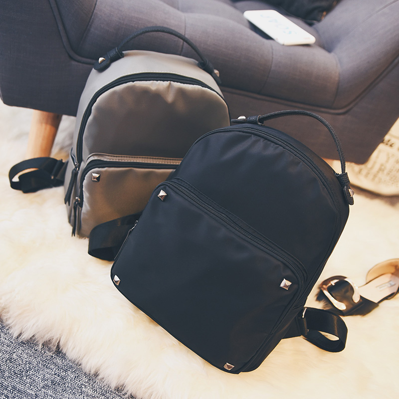 New Season Design Waterproof Nylon Rivet Backpack Japan and Korean Style Casual and Fashion Style for