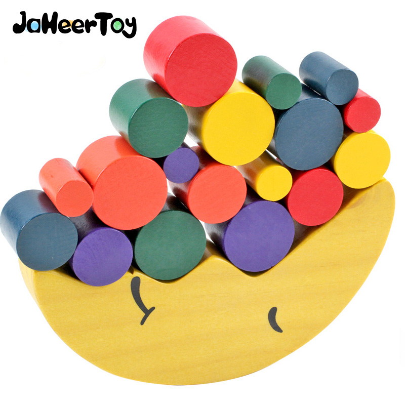JaheerToy Montessori Educational Wooden Toys for children Moon Shape Balance Beam Geometeic Assembling Blocks for Kids Wood