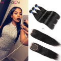 8A Brazilian Straight Hair With Closure Cheap Human Hair Bundles With Lace Closures Straight Brazilian Virgin Hair With Closure