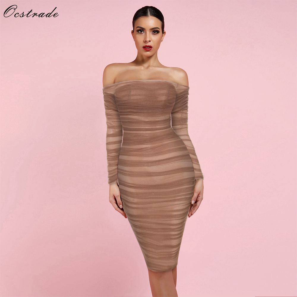 Ocstrade New Arrival 2019 Chestnut Tulle Off Shoulder Ruched Sexy Bodycon Party Club Dress