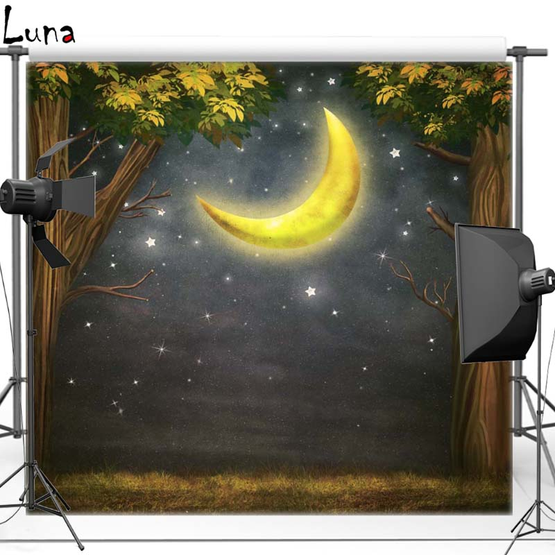Tree Moon Vinyl Photography Background Backdrop For Newborn Night Sky New Fabric Flannel Background For Photo Studio 2726