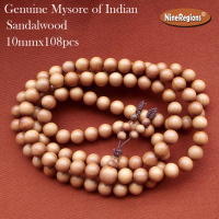 10mmx108pcs Buddhist Rosary beads bracelet women Necklace wood bangle Genuine natural sandalwood Mysore of India Strong milk aro