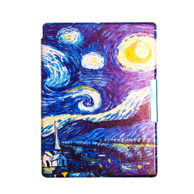 Van Gogh Design leather cover case Lighted Slim Leather Cover for 2014 kobo aura h2o 6.8'' ereader smart cover case