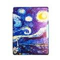 Van Gogh Iluminado cubierta del cuero del Diseño Cubierta de Cuero Delgada para 2014 ereader kobo aura h2o 6.8 ''smart cover caso