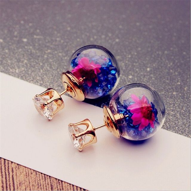 2017 Korean Fashion Women Lady Elegant Rose Glass Ball Flower Rhinestone Metal Stud Earrings For Women Jewelry Earring Set