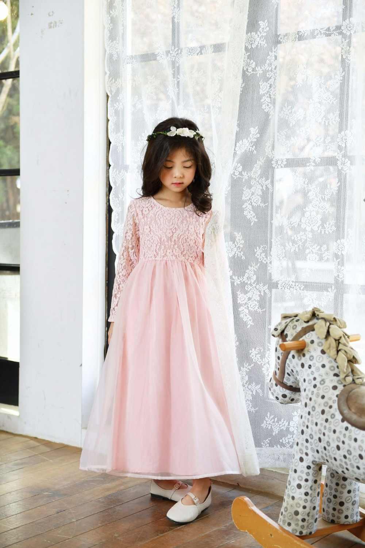 64fbae50d5c ... Для девочек-подростков кружевные Длинные рукава платье принцессы  Большие размеры длинное платье элегантный день рождения ...