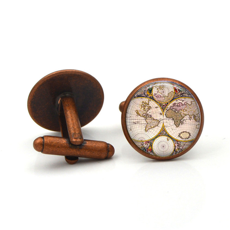 Luxury Shirt  World Map Cufflinks For Mens Brand Cuff Button De Manchette Colorful Cuff Links High Quality Abotoaduras Jewelry