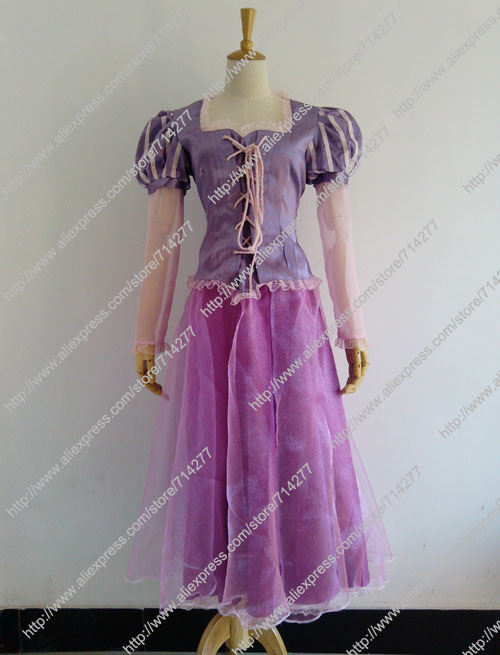 Adult Rapunzel Princess Dress Purple Cosplay Costume From Tangled for Christmas Halloween Free shipping Custom Made