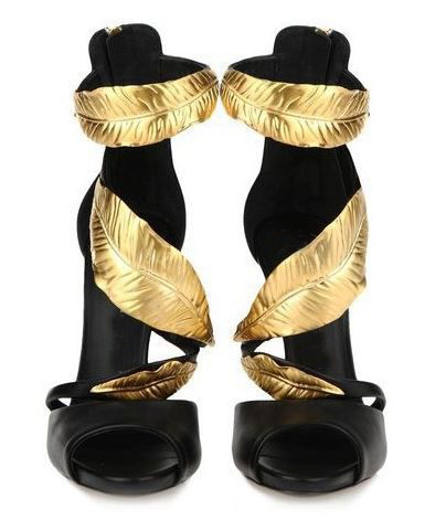 Cheap Price Gold Leaves Sandals High Heel Cut Outs Ankle Wrap Open Toe Summer Dress Shoes Bac Zipper Thin Heel Cool Pumps