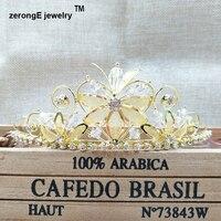 1 8inch Gold Crystal Tiara Crown Princess Flower Shape Hair Jewelry Accessories Head Tiara Crown