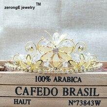 1.8 inch золотой кристалл крона тиары принцесса форма цветка аксессуары для волос головы короны, тиары