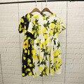 Альфа 2016 летние платье цветочные плоды напечатаны дамы модные миди платье с короткими рукавами удобный хлопок платье