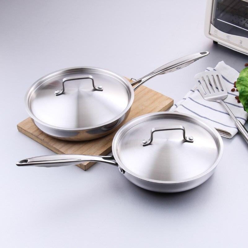 Poêle en acier inoxydable 24 cm 28 cm antiadhésive longue poignée ronde poêle à frire poêle avec couvercle allant au lave-vaisselle ustensiles de cuisine outils de cuisson