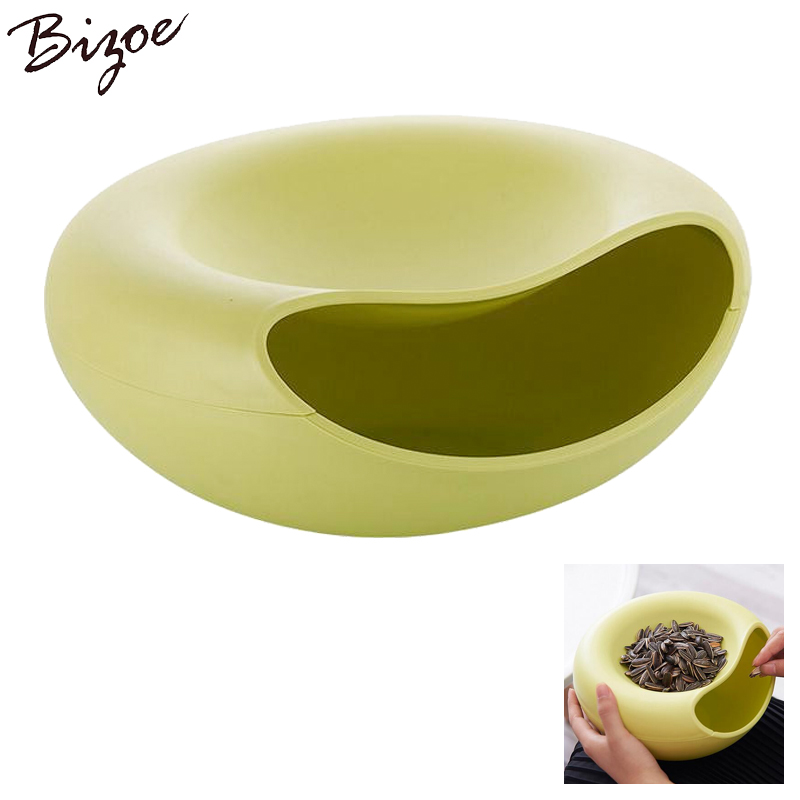 2PCS New kitchen accessories circular plastic box double layer deck snacks food storage box office desk organizer rangement