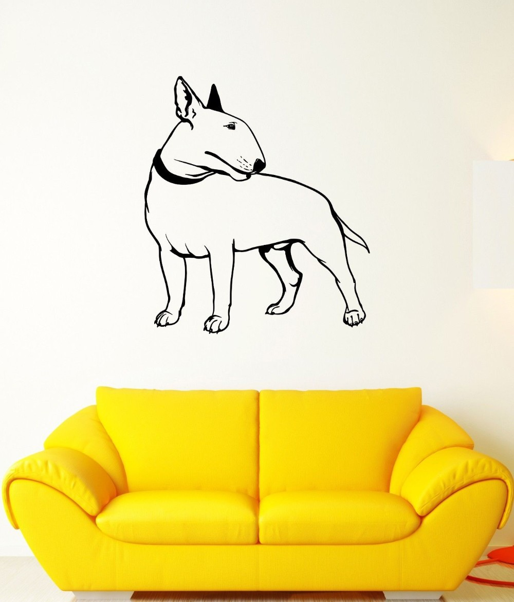 Free shipping Wall Decal Bullterrier Dog Pet Animal Feet Tail Guard Vinyl Stickers Wall  ...