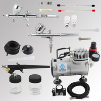 OPHIR Top 3 Airbrush Guns with Air Compressor for Model Paint Makeup Hobby Cake Air Brush Compressor Set _AC089+004A+071+070