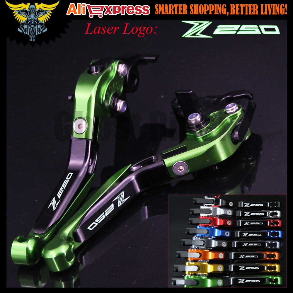 ФОТО 8 Colors New Adjustable Foldable Extendable Motorbike Brakes Clutch CNC Levers for Kawasaki Z250 (Compatible with ABS) 2015 2016
