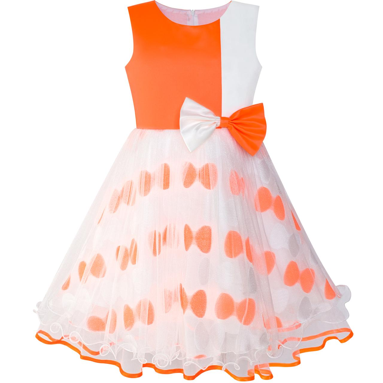 Flower Girl Dress Bow Tie Orange White Color Contrast Sundress 2018 Summer Princess Wedding Party Dresses Clothes Size 4-12 sunny fashion girls dress bow tie sleeveless novelty paisley style print size 3 8 girl dresses princess dress vestidos sundress